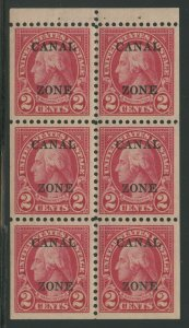 CANAL ZONE #101a 2c BOOKLET PANE PERF 10 VF OG NH BV1959