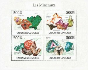Comoro Islands - 2010 Minerals - 4 Stamp Sheet - Michel Catalog #2632-5