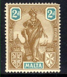 Malta 1922 - 26 KGV 2d Bistre & Turquoise  Emblematic Statue MM SG 128 ( B110...
