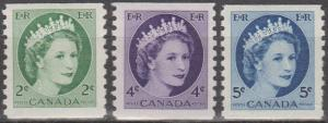 Canada #345, 347-8 MNH VF CV $4.40 (ST838)