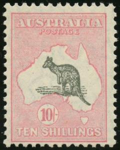 AUSTRALIA #101 KANGAROO TEN SHILLINGS F-VF OG NH CV $1,600 WLM3884