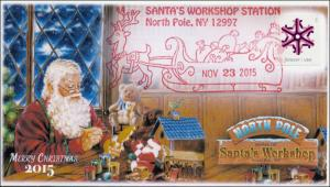 2015, North Pole NY, Santas Workshop, Pictorial Postmark, 15-244