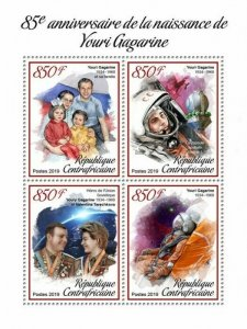 HERRICKSTAMP NEW ISSUES CENTRAL AFRICA Yuri Gagarin Sheetlet