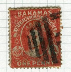 BAHAMAS; 1880s early classic QV issue fine used 1d. value