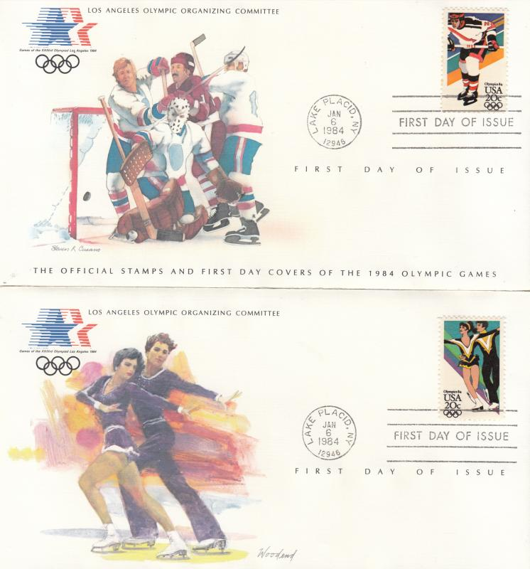 ​  USA - 1984 Olympic games , FDC ice hockey and ice dancing (1323)
