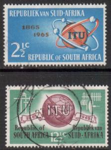 South Africa Scott 306/307 - SG258/259, 1964 ITU Set used