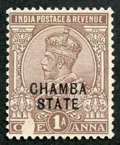 ICS CHAMBA SG55 1923 1a Chocolate Mint (no gum) Great PRINTING FLAW