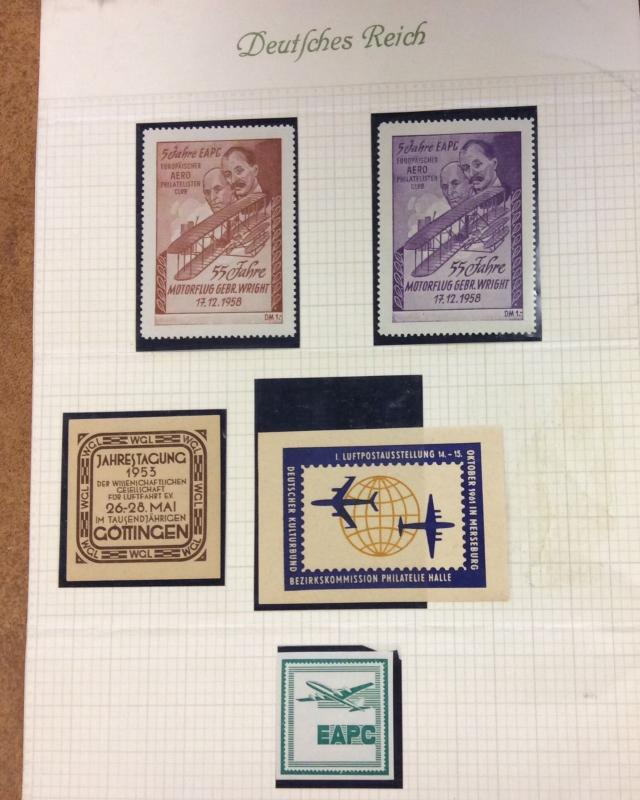 5 German Poster Air post stamps, labels Cinderellas 1953 1955, etc  airplanes