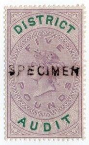 (I.B) QV Revenue : District Audit £5 (1882) specimen