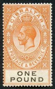 Gibraltar SG107 KGV one pound red-orange and black M/M