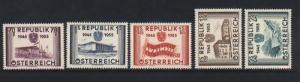 Austria #599 - #603 VF/NH Set