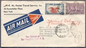 1941 Air Special Delivery Cover: Chicago & Southern Air Line Air Mail Etiquette
