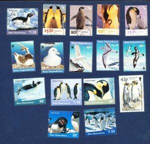 ROSS DEPENDENCY - New Zealand -  FVF MNH lot of 16 diff -  BIRDS WWF - 1997-2001