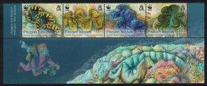 Pitcairn WWF Fluted Giant Clam Bottom strip of 4v Diving SG#865-868