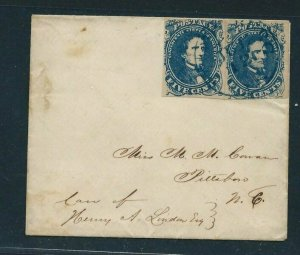 CSA #4 PAIR (TWO SINGLES) ON SMALL 3 3/4 BY 3 1/8 VERY CLEAN COVER - BEAUTIFUL