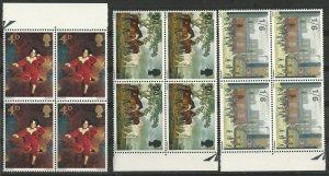 Great Britain # 514-16  Paintings - blocks/4  (3)  Mint NH