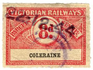 (I.B) Australia - Victoria Railways : Parcel Stamp 8d (Coleraine)