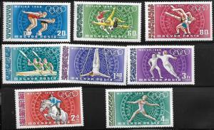 HUNGARY C277-C283 & CB31 C/SET MNH 19TH OLYMPIC GAMES
