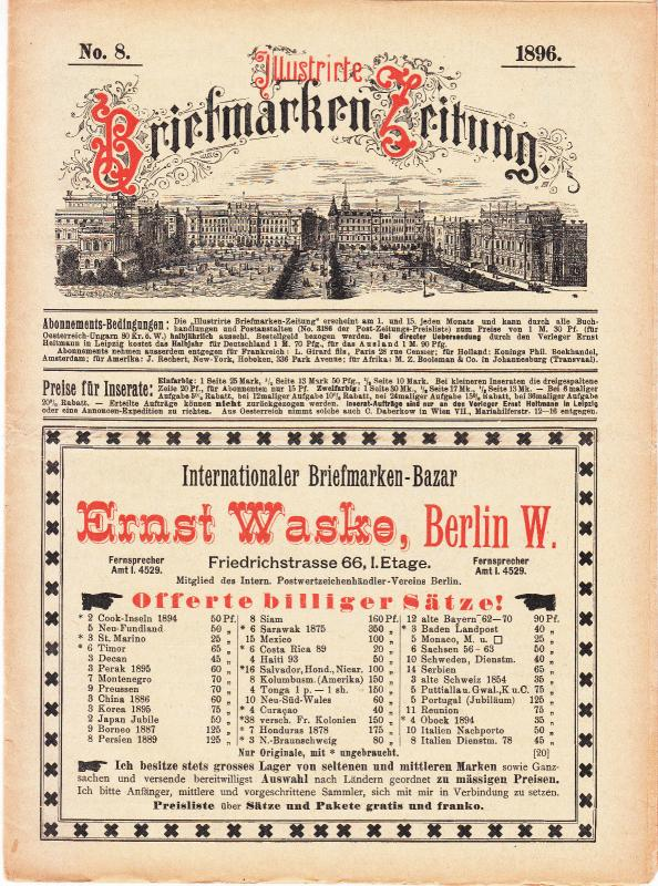 Illustrate Briefmarken Zeitung 1896 #8
