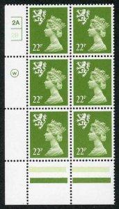 S-JAD22B 22p Yellow Green Scotland Waddington ACP/PVAD Cyl 2A/2B No Dot U/M