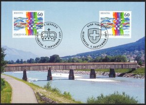 Liechtenstein 1995 Liechtenstein Switzerland Joint issue 2 canc. Maxi Card FDC