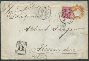 EGYPT 1896 2p envelope uprated, Registered Cairo to Alexandria.............46805