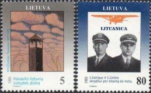 Lithuania MNH 457-8 Aviators 1993