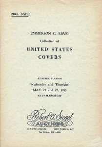 Emerson C. Krug, U.S. Covers, Robert A. Siegel, N.Y., Sale 210, May 21-22, 1958