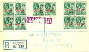 Montserrat 1/2d KGV Symbol of the Colony Overprinted War Stamp in Red (10) 19...