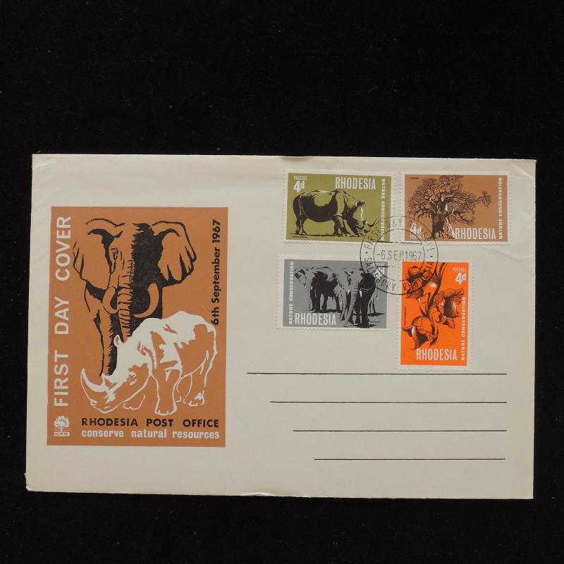ZS-AC837 RHODESIA - Wild Animals, 1967 Fdc, Conserve Natural Resources Cover