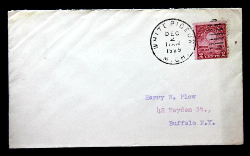 US Stamp Sc# 656 Coil Early Use on Cover from a Michigan Tiny Town Dec 2, 1929