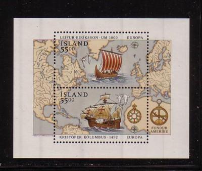 Iceland Sc 751 1992 Eriksson Columbus stamp sheet mint NH