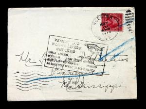 US Stamp Sc# 554 on Return To Sender Cover (Blue Crayon Marks)