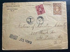 1900s San Bernardo Chile Postage Due Cover To St. Louis MO USA