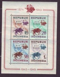 Z570 Jlstamps 1949 indonesia s/s mnh #65b-c map upu, RIS djakarta ovpt,s 2 scans