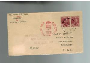 1930 Seville Spain Graf Zeppelin Mail First South America Flight Cover USA LZ127