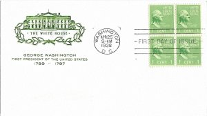 #804 Prexie FDC, 1c George Washington, House of Farnam cachet, block of 4