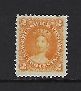 NEW BRUNSWICK SCOTT #7 1860-63 VICTORIA 2 CENT (ORANGE) - MINT NO GUM