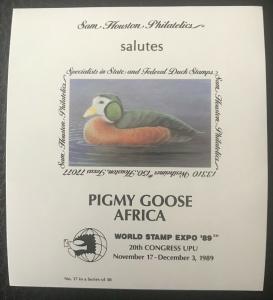 Sam Houston Philatelics salutes World Stamp Expo '89 Nov 17 - Dec 3, 1989 MNH