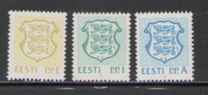 Estonia Sc 211-3 1992  National Arms E,I,A stamps mint NH