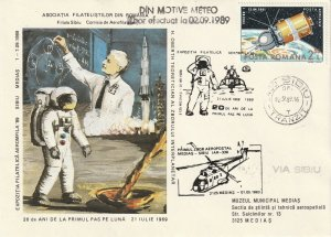 ROMANIA COVER 1989 COSMOS MOON LANDING SPECIAL MARKING USED POST
