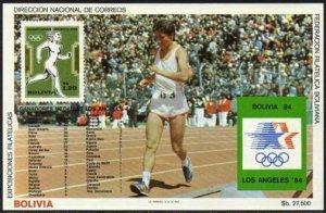 Bolivia C301 note 3 sheet.Mi Bl.143,MNH. Olympics Los Angeles-1984.Running.