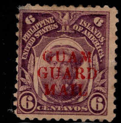 GUAM Scott M9 MH* Guard Mail stamp, perf tip thin at UL, hinge remnant