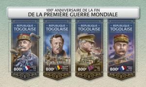 Togo - 2018 World War I Anniversary - 4 Stamp Sheet - TG18221a