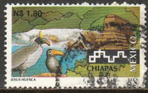 MEXICO 1789, N$1.80 Tourism Chiapas, birds, pyramid. USED. F-VF. (1377)