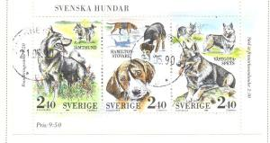 Sweden Sc  1765 1989  Kennel Club stamp Bk pane used