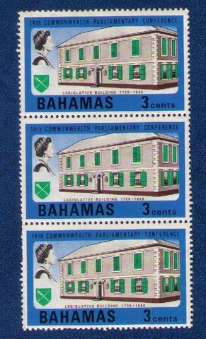 1968 Bahamas Sc 280 QE II Nassau Legislative Building 3C Strip of 3 Mint,NG,F-VF