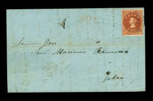 CHILE 1854 COLUMBUS - Desmadryl 5c deep red brown Sc# 3a XF on cvr to ISLAY,PERU