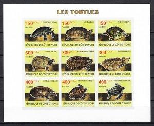 Ivory Coast. 2009 Cinderella issue. Turtles, IMPERF sheet of 9. ^