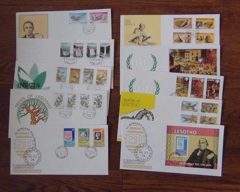 Lesotho First Day Covers 1978 1980 Trees Insects Reptiles Flight Waterfalls IYC